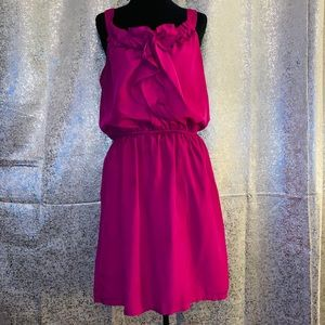 Wishes Wishes Wishes Magenta Ruffle Front Dress- L